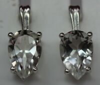 Edle 3,6 Carat Bergkristall Ohrstecker 925 Silber weißer Edelstelstein Top