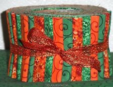 """Jelly Roll Fabric Sage Green Orange Mix Swirl Floral Mix 2.5""""Quilting Strips"""