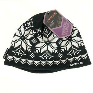 Seirus Crystal Hat Beanie Wool Blend Fleece Lined Fair Isle Black White