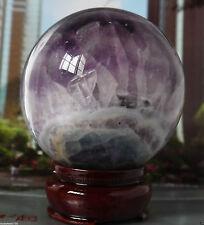 100MM +Stand Glow In The Dark Natural Purple Fluorite Magic Crystal Healing Ball