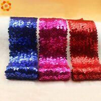 1Yard Sequin Beading Trim Lace Spangle Ribbon DIY Sewing Material Clothing Decor