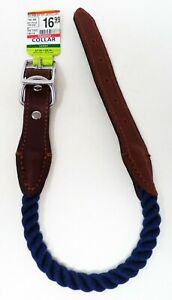 TOP PAW Blue Rope & Leather Dog Collar (L) (NEW)