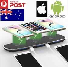 QI 3 DEVICE CHARGE WIRELESS DOCK + 2 USB PORTS WORKS ON IPHONE X/8 SAMSUNG VIC