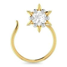 Star Nose Stud Pin Ring Everyday Use Beautiful 14K Yellow Gold Over Round Cz