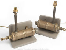PAIR Brass BEER PUMP Table / Bedside LAMPs Original Antique Vintage Grey Bronze