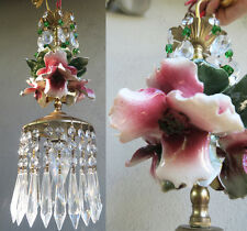HIbiscus chandelier Swag vintage lamp Porcelain Capodimonte Beaded Rose Brass