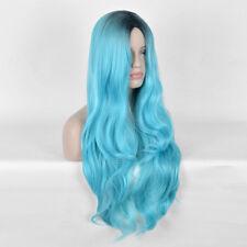 Black Green Wig Long Natural Straight Duck Egg Blue Hair Wigs