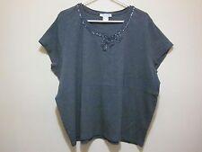 Bianca Nygard Beaded collar short sleeve Gray  tunic Top blouse t-shirt  Plus 3X