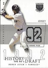 2004 Fleer History of the Draft 92 Derek Jeter Yankees Game-Worn Jersey Relic/50