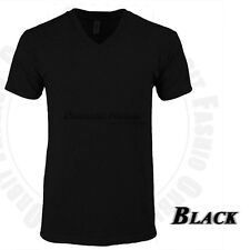 V Neck T Shirts Short Sleeve Tri Blend Blank Tee Slim Fit Casual Solid Tee Mens