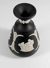 "Beautiful Black Wedgwood Jasperware Cameo Vase 4.5"" Chariot ""Excellent"""