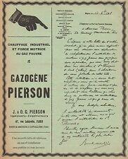 Y9659 Gazogéne PIERSON - Chauffage Industriel - Pubblicità d'epoca - 1908 Old ad