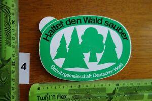 Alter Aufkleber Umweltschutz SCHUTZGEMEINSCHAFT D. WALD Haltet den Wald sauber