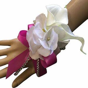 Wrist Corsage -  Artificial Calla Lily with White Hydrangea *Pick Ribbon Color*