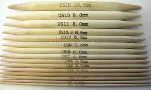"""Bamboo Double Pointed Knitting Needles Sock / cable DPN 13cm/5"""" short set of 5"""