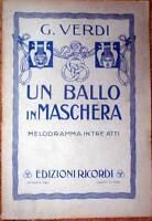 1941 libretto teatro- UN BALLO IN MASCHERA - Giuseppe Verdi - Ricordi