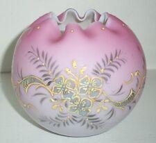 Hand Blown Peachblow Burmese Mt Washington Flower Vase- Hand Painted Design