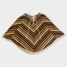 Vintage 70s Lil Airess Brown Striped Poncho Cape 6X