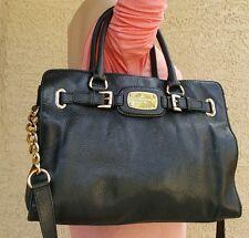 Michael Kors BLACK leather HAMILTON e/w chain shoulder satchel purse EUC tote