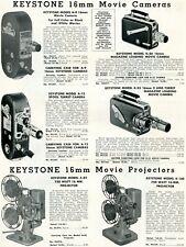 1952 Print Ad Keystone Model A-9 K-50 A-12 K-55 16mm Camera A-82 K-160 Projector