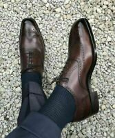 High Quality-Handmade Dress Shoes, Mens Formal Shoes, Wingtip Brogue Brown Shoes