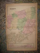 Antique 1873 Jamaica Woodhaven Rockaway Beach Richmond Hill Queens New York Map