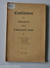 CONFERENCE sur L'ASSURANCE VIE 1915 by Jos. T Chenard FRENCH BOOK Quebec °