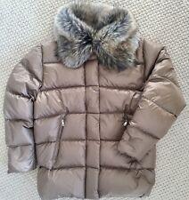 RALPH LAUREN Womens Cayfrutray Down Puffer Jacket Coat Faux Fur Beige Truffle XL