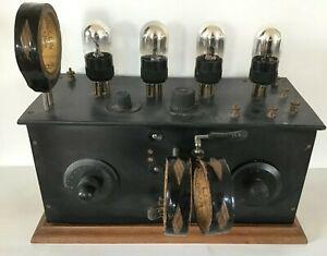 Ancien Poste Radio TSF à lampes extérieures