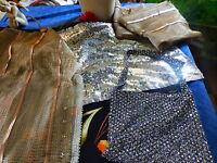 interessant lot les tissus  lamés scintillants sac paillette +tissus