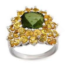 Green Tourmaline & Yellow Sapphire 14K White Gold-9.0ctw-Size 5