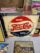 Vintage Pepsi Square Bottle Cap Metal Sign Drink Pepsi Now SODA COLA GAS OIL