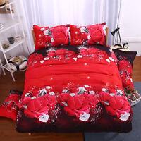 Unicorn Red Rose 3D Duvet Quilt Cover Pillowcases Bedroom Bedding Set 3 Size