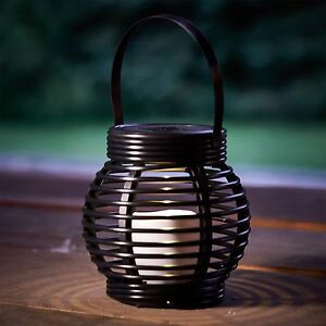ROUND RATTAN SOLAR POWERED CANDLE EFFECT OUTDOOR LED LANTERN AMBER GARDEN LAMP