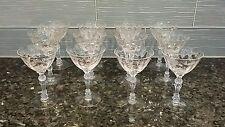 VINTAGE SET 12 FOSTORIA GLASSES Chintz (Etched) rose vine CLARET WINE Champagne