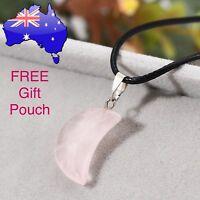 Pink Rose Quartz Crystal Crescent Moon Pendant Choker Necklace Gift Jewellery