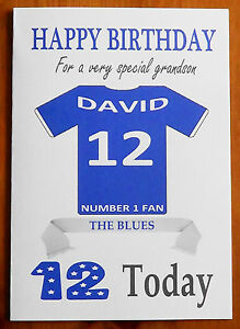 """EVERTON FAN Unofficial PERSONALISED Football Birthday Card (""""THE BLUES"""")"""