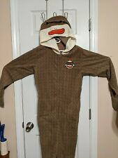 Sock Monkey Adult One Piece Hooded Footy Pajamas With Removable Feet Size?