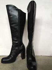 BERTIE Tall Black Leather Boots Block Heel Over-Knee Front UK 5 Superb Condition