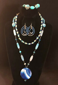 Gemstone Necklace Blue Agate Turquoise Azurmalachite +Earrings Bracelet LOT 1279