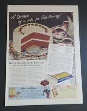 Original 1940 Print Ad BAKER'S CHOCOLATE Devil's Food Cake Recipe