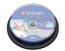 10 BD-R Blu Ray LTH 25 GB Verbatim 6x Printables Imprimibles Bluray Virgenes 50
