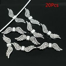 Silver Tone Angel Fairy Wings Spacer Beads Charm Jewelry Craft 20Pcs hot