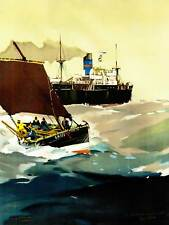 La PITTURA FLORA Nave da Oceano Mare Onda Vela Da Viaggio UK Stampa Poster bb8747