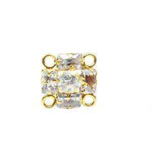 Indian Nose ring White CZ studded gold plated Piercing Nose stud push pin