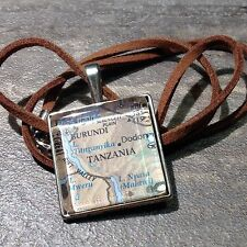KIGALI DODOMA BURUNDI TANZANIA AFRICA Map Pendant Silver necklace ATLAS