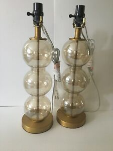 Gold Amber Three Glass Ball Table Lamps, a Pair (2)