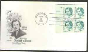 US. 1857. 17c. Rachel Carson, Author of Silent Spring BK4. Artmaster FDC. 1981