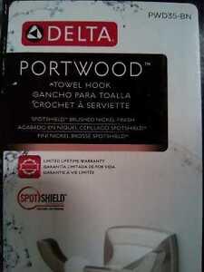 Portwood Towel Hook in SpotShield Brushed Nickel by Delta
