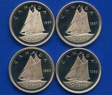 4 Canada Proof Uncirculated 10 Cent Coins 1986 1987 1988 & 1989